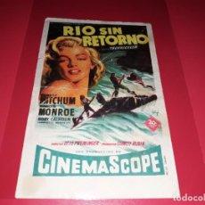 Cine: RIO SIN RETORNO CON MARILYN MONROE Y ROBERT MITCHUM. PUBLICIDAD AL DORSO.AÑO 1954. Lote 193947146