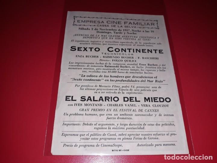 Cine: Sexto Continente. Publicidad al dorso. Año 1954 - Foto 2 - 193953142