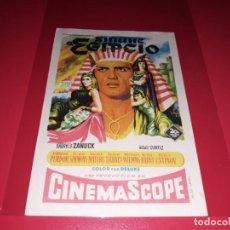 Folhetos de mão de filmes antigos de cinema: SINUHE EL EGIPCIO CON VICTOR MATURE Y PETER USTINOV. PUBLICIDAD AL DORSO. AÑO 1954. Lote 194141720