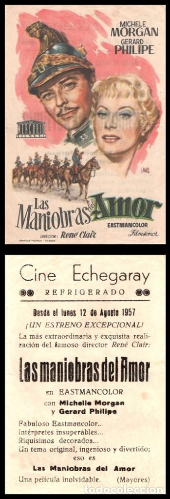 FOLLETO DE MANO, LAS MANIOBRAS DEL AMOR, MICHELE MORGAN Y GERARD PHILIPE. (Cine - Folletos de Mano - Acción)