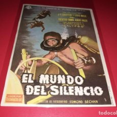 Cine: EL MUNDO DEL SILENCIO JACKES COUSTEAU. PUBLICIDAD AL DORSO. AÑO 1956.. Lote 194148667