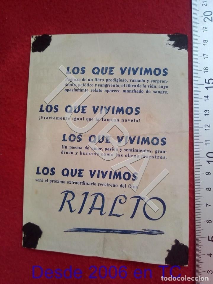 Cine: TUBAL LOS QUE VIVIMOS CINE RIALTO SEVILLA PROGRAMA DE MANO 100% ORIGINAL B46 - Foto 2 - 194148861
