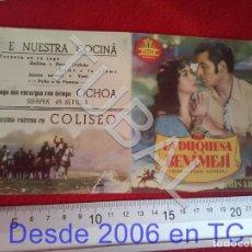 Cine: TUBAL LA DUQUESA DE BENAMEJI CINE COLISEO SEVILLA PROGRAMA DE MANO 100% ORIGINAL B46. Lote 194149088