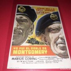 Cine: YO FUÍ EL DOBLE DE MONTGOMERY. PUBLICIDAD AL DORSO. AÑO 1958.. Lote 194155222