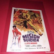 Cine: MISIÓN SUICIDA. PUBLICIDAD AL DORSO. AÑO 1968.. Lote 194158838
