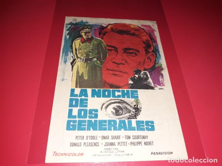 LA NOCHE DE LOS GENERALES CON PETER O´TOOLE. PUBLICIDAD AL DORSO. AÑO 1966. (Cine - Folletos de Mano - Bélicas)