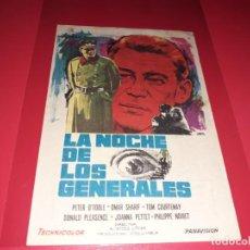 Cine: LA NOCHE DE LOS GENERALES CON PETER O´TOOLE. PUBLICIDAD AL DORSO. AÑO 1966.. Lote 194159052