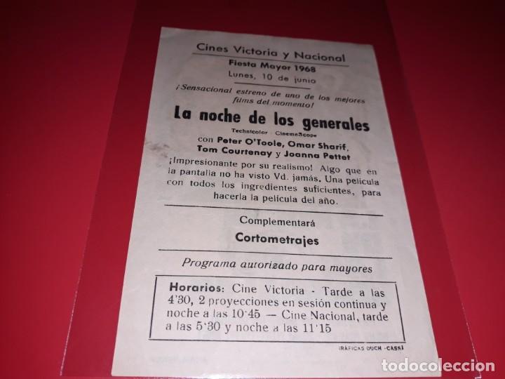 Cine: La Noche de los Generales con Peter o´Toole. Publicidad al dorso. Año 1966. - Foto 2 - 194159052