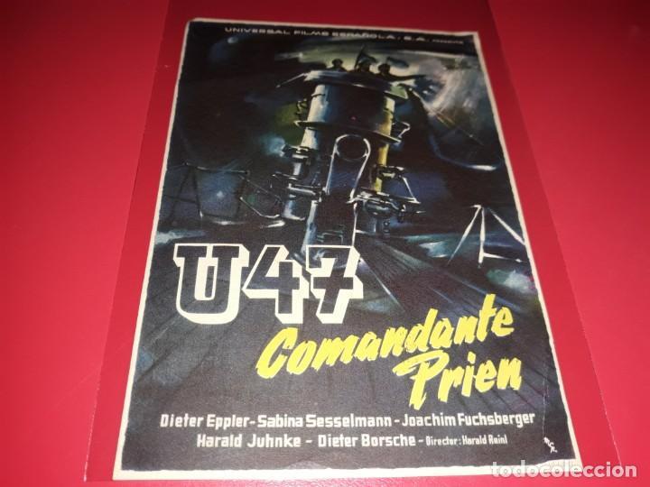 U47 COMANDANTE PRIEN. PUBLICIDAD AL DORSO. AÑO 1958. (Cine - Folletos de Mano - Bélicas)