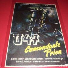 Cine: U47 COMANDANTE PRIEN. PUBLICIDAD AL DORSO. AÑO 1958.. Lote 194159215