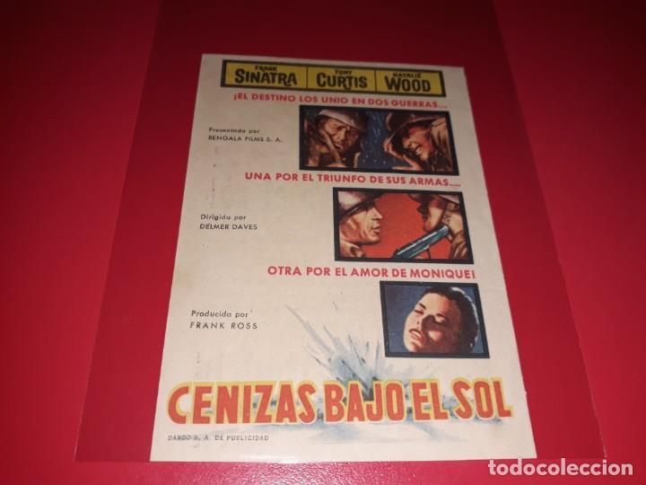 CENIZAS BAJO EL SOL CON FRANK SINATRA, TONY CURTIS Y NATALIE WOOD. PUBLICIDAD AL DORSO. AÑO 1958. (Cine - Folletos de Mano - Bélicas)