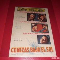 Cine: CENIZAS BAJO EL SOL CON FRANK SINATRA, TONY CURTIS Y NATALIE WOOD. PUBLICIDAD AL DORSO. AÑO 1958.. Lote 194159403