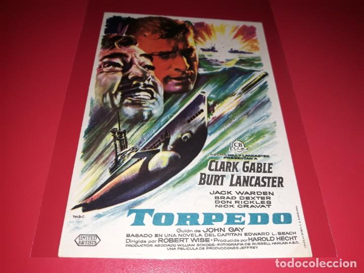 TORPEDO CON CLARK GABLE Y BURT LANCASTER. PUBLICIDAD AL DORSO. AÑO 1958. (Cine - Folletos de Mano - Bélicas)