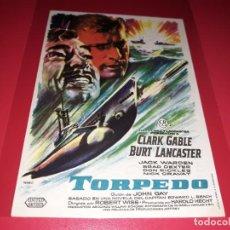 Cine: TORPEDO CON CLARK GABLE Y BURT LANCASTER. PUBLICIDAD AL DORSO. AÑO 1958.. Lote 194159892