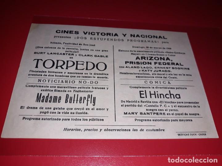 Cine: Torpedo con Clark Gable y Burt Lancaster. Publicidad al dorso. Año 1958. - Foto 2 - 194159892