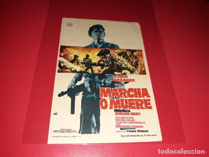 MARCHA O MUERTE CON STEWART GRANGER. PUBLICIDAD AL DORSO. AÑO 1962. (Cine - Folletos de Mano - Bélicas)