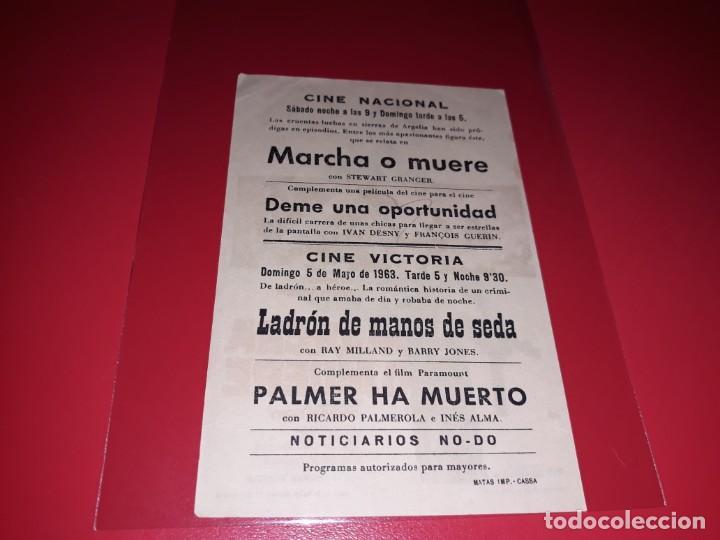 Cine: Marcha o Muerte con Stewart Granger. Publicidad al dorso. Año 1962. - Foto 2 - 194160125