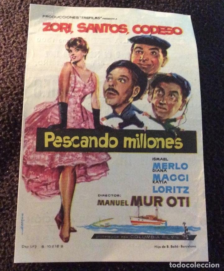 FOLLETO DE MANO PESCANDO MILLONES. PUBLICIDAD CINE AVENIDA. MELILLA. (Cine - Folletos de Mano - Clásico Español)
