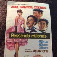 Cine: FOLLETO DE MANO PESCANDO MILLONES. PUBLICIDAD CINE AVENIDA. MELILLA.. Lote 194177158