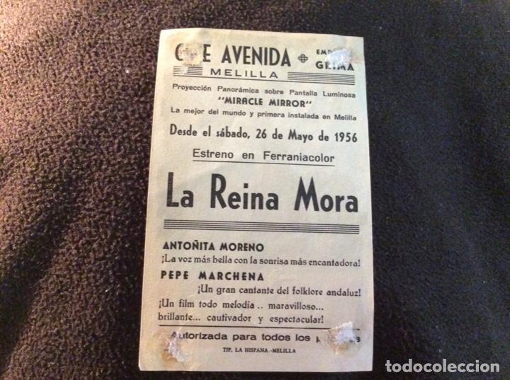 Cine: FOLLETO DE MANO LA REINA MORA. PUBLICIDAD CINE AVENIDA. MELILLA. - Foto 2 - 194177252
