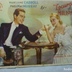 Cine: PROGRAMA LOCURAS DE MILLONARIOS.-MADELEINE CARROL -SELLO CINE DEPORTES BELLVIS. Lote 194246388