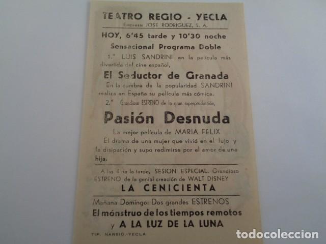 Cine: YECLA. MURCIA. TEATRO REGIO. EXTRENO LA CENICIENTA, Y OTRAS OBRAS. - Foto 2 - 194255061