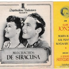 Cine: MUCHACHOS DE SIRACUSA - ALLAN JONES. Lote 194310911