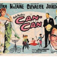 Cine: CAN-CAN - SHIRLEY MACLAINE - FRANK SINATRA - CINE SERRA Y MONUMENTAL - MATARÓ 1961. Lote 194311558