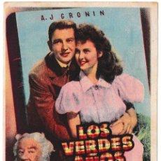 Cine: LOS VERDES AÑOS - CINE IMPERIAL 1948. Lote 194312622