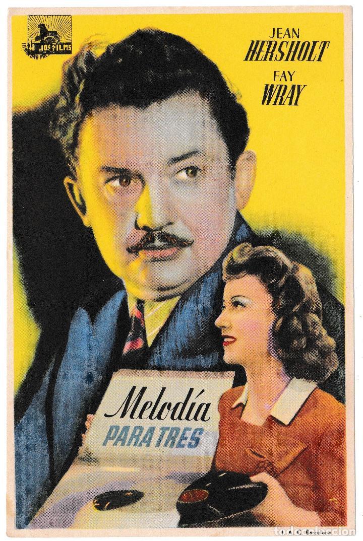 MELODÍA PARA TRES - JEAN HERSHOLT - FAY WRAY (Cine - Folletos de Mano - Comedia)