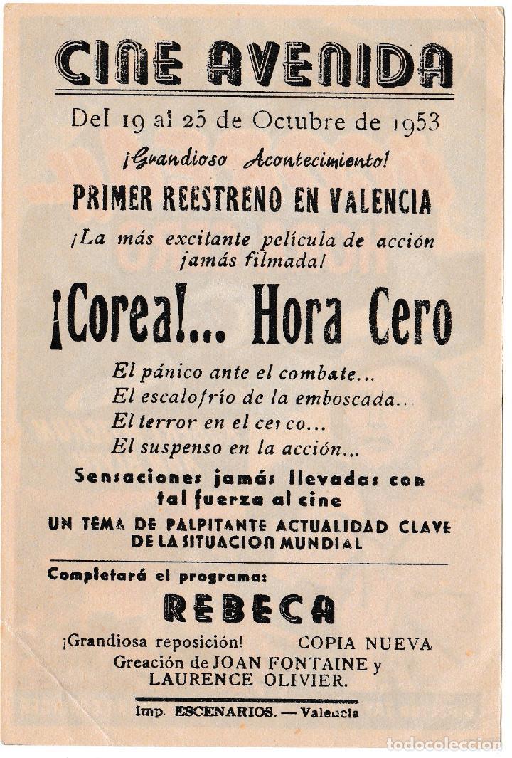 Cine: COREA HORA CERO - ANN BLYTH - ROBERT MITCHUM - CINE AVENIDA 1953 - Foto 2 - 194380567