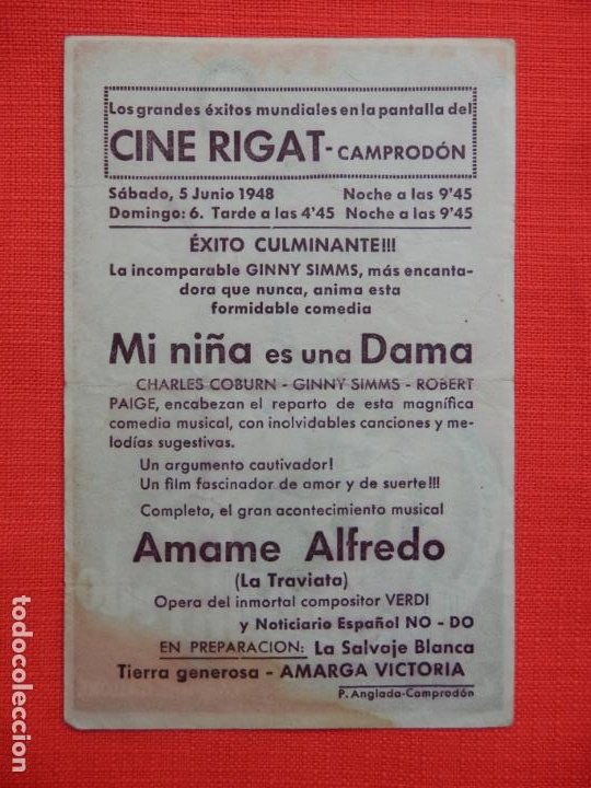 Cine: amame alfredo, sencillo, maria cebotari, c/publi cine rigat camprodón 1948 - Foto 2 - 194509213