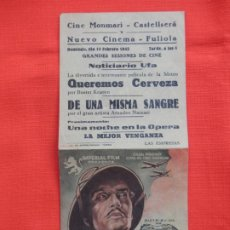 Cine: DE UNA MISMA SANGRE, DOBLE EXCTE.ESTADO, AMADEO NAZZARI, C/PUBLI CINE MONMARI CASTELLSERÁ 1943. Lote 194510593