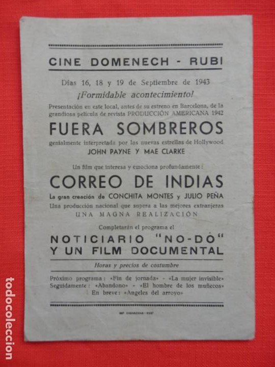 Cine: fuera sombreros, sencillo grande, john payne, c/publi cine domenech rubi 1943 - Foto 2 - 194512472