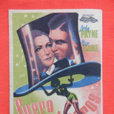 Cine: FUERA SOMBREROS, SENCILLO GRANDE, JOHN PAYNE, C/PUBLI CINE DOMENECH RUBI 1943. Lote 194512472