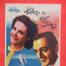 Cine: LOCA DE ALEGRIA, IMPECABLE SENCILLO GRANDE, MARIA DENIS, C/PUBLI CINE VENUS 1946. Lote 194516512