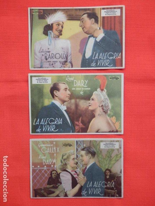 LA ALEGRIA DE VIVIR, 3 SENCILLOS ORIGINALES, LUCIEN BAROUX, SIN PUBLICIDAD (Cine - Folletos de Mano - Drama)