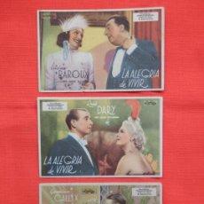 Cine: LA ALEGRIA DE VIVIR, 3 SENCILLOS ORIGINALES, LUCIEN BAROUX, SIN PUBLICIDAD. Lote 194519967