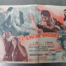 Cine: EL AMOR BRUJO-CARTEL DE MANO-DOBLE. Lote 194572676