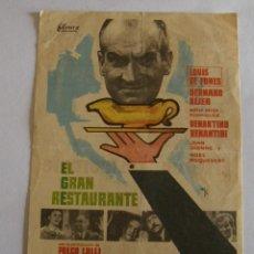Cine: PROGRAMA DE CINE EL GRAN RESTAURANTE. Lote 194674680