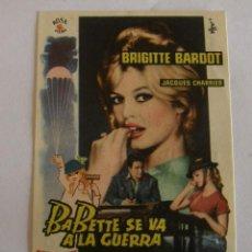 Cine: PROGRAMA DE CINE BABETTE SE VA A LA GUERRA. Lote 194677101