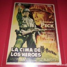 Cine: LA CIMA DE LOS HEROES CON GREGORY PECK. PUBLICIDAD AL DORSO.AÑO 1959.. Lote 194709077
