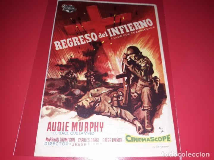 REGRSO DEL INFIERNO. PUBLICIDAD AL DORSO.AÑO 1955. (Cine - Folletos de Mano - Bélicas)