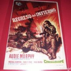 Cine: REGRSO DEL INFIERNO. PUBLICIDAD AL DORSO.AÑO 1955.. Lote 194709648