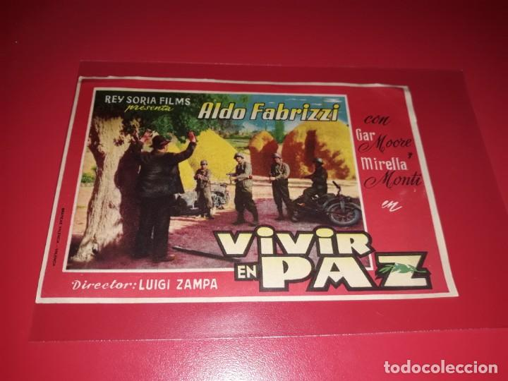 VIVIR EN PAZ. PUBLICIDAD AL DORSO.AÑO 1947. (Cine - Folletos de Mano - Bélicas)
