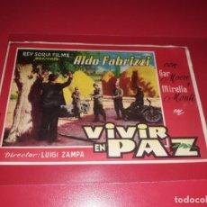 Cine: VIVIR EN PAZ. PUBLICIDAD AL DORSO.AÑO 1947.. Lote 194710340
