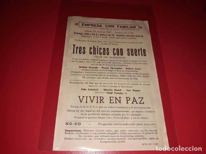 Cine: Vivir en Paz. Publicidad al dorso.Año 1947. - Foto 2 - 194710340