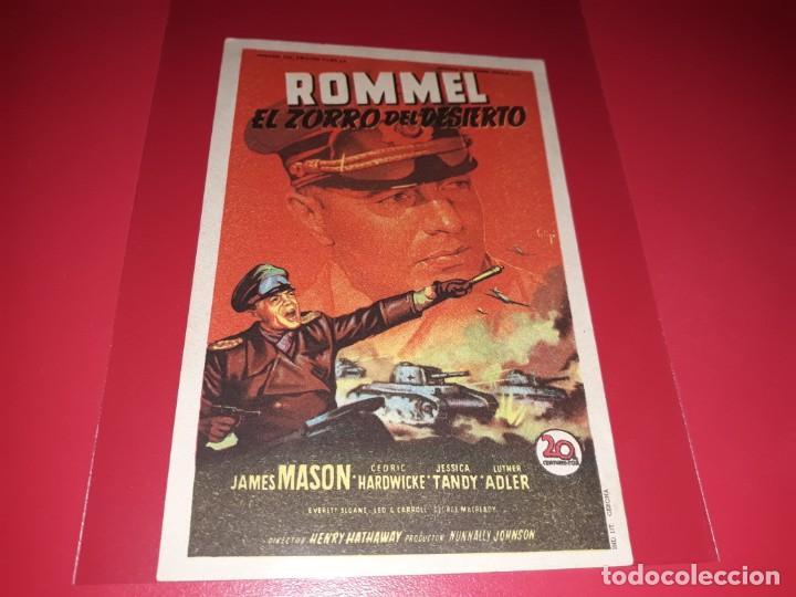 ROMMEL EL ZORRO DEL DESIERTO. PUBLICIDAD AL DORSO.AÑO 1951. (Cine - Folletos de Mano - Bélicas)