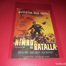 Cine: HIMNO DE BATALLA CON ROCK HUDSON. PUBLICIDAD AL DORSO.AÑO 1957.. Lote 194711678