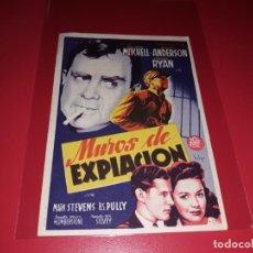 Cine: MUROS DE EXPIACIÓN . PUBLICIDAD AL DORSO. AÑO 1945. Lote 194712676